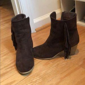 Dark brown tassel booties